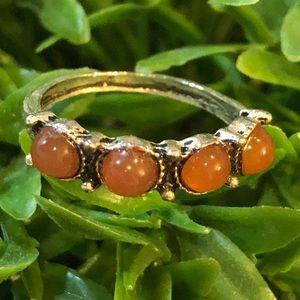 Orange Stones in Antiqued Silver Tone Setting, 6